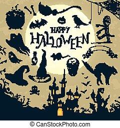 Vector Halloween Design Elements