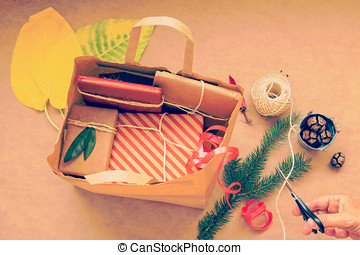 Paper Bag with wrapped  Gifts