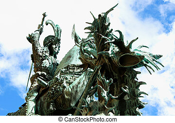 The statue of St. George and the Dragon (1912) in Old Town...