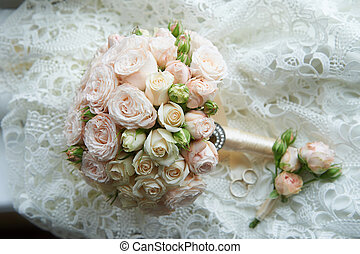 Wedding bouquet classic round shape of peony roses....