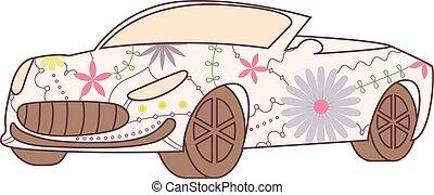 Car cabriolet vintage - vector isolated car cabriolet...