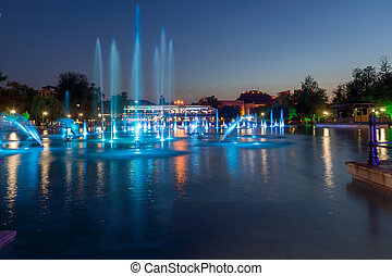 Singing Fountains in Plovdiv - Night photo of Singing...