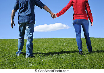 Couple hold hands and walks on a green grass to the horizon...