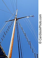 Mast Sailing Boat - Mast of Sailing boat without sails and a...