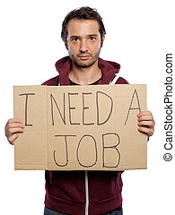 Unemployed man holding a cardboard isolated on white...