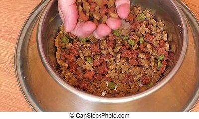 Close up of pet food in metal bowl