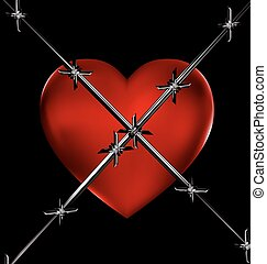 red heart and wire - dark background and the big red heart...