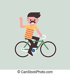 Man riding on bike and friendly smiling. Vector. - Young man...