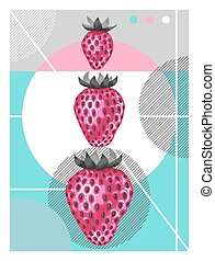 Abstract poster with strawberries in a pop art style