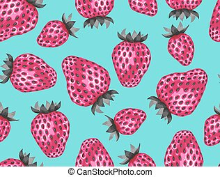 Abstract seamless pattern with strawberries in a pop art...
