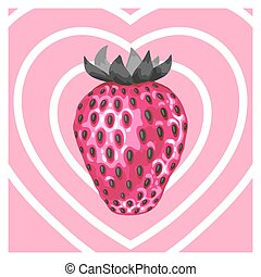 Abstract card with strawberries in a pop art style