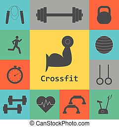 Vector Set of Crossfit Icons. Sport, fitness, gym workout....