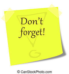 dont forget note on post it illustr - dont forget note on...