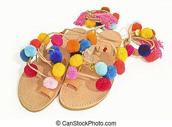 bohemian greek pom pom sandals - stylish greek leather...