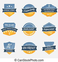 Set of vintage vector badges in retro style.