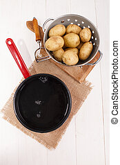 cleaned potatoes in a colander and pot with cold water to...