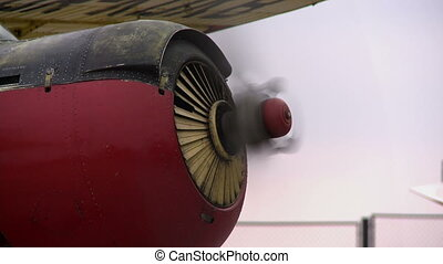 View of working propeller by plane, close-up