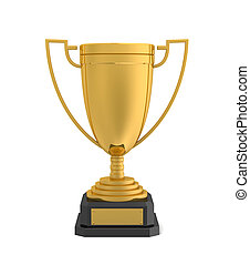 gold award cup 3d illustration isolated on white background