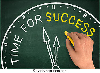 time for success clock chalkboard write concept 3d...