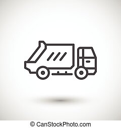 Garbage truck line icon isolated on grey. Vector...
