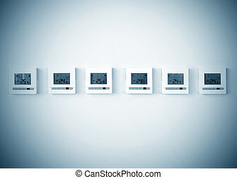Digital Thermostat - digital thermostat on white wall