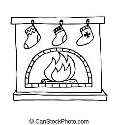 Christmas fireplace on white background Vector illustration...