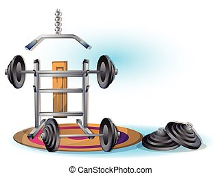cartoon vector illustration interior fitness room with...