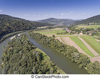 Dunajec river Mountain landcsape at summer time in south of...