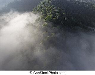 Landscape misty panorama Fantastic dreamy sunrise on rocky...