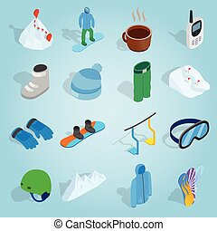 Snowboard set icons, isometric 3d style