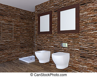 Modern interior of a bathroom in a city apartment. 3D Render