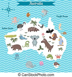 Cartoon map of Australia continent with different animals....