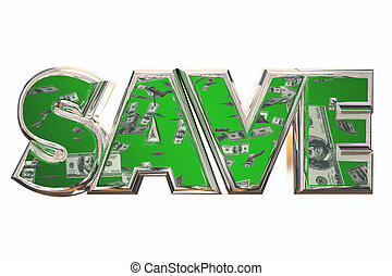Save Word Money Falling Discount Bargain Deal 3d Illustration