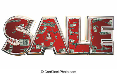 Sale Word Save Money Falling Dollars 3d Illustration