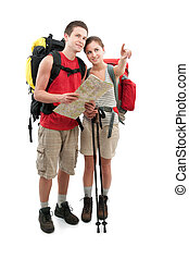 hiking - couple of teenagers finding a route. Isolated on...