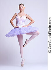ballerina in position - picture of a ballerina standing on...