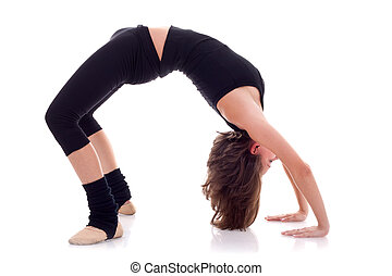 woman doing sports exercises over white background