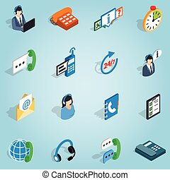 Call center set icons, isometric 3d style - Isometric call...