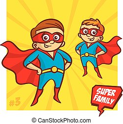 Super Family. Father and Son Superheroes. Vector...