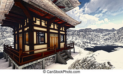 Buddhist Temple in rocky mountains 3d rendering - Buddhist...