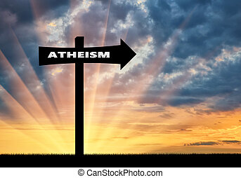 Road sign of atheism at sunset