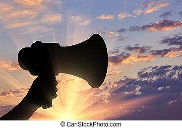 alto-falante, megafone, mão