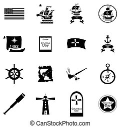 Columbus Day icons set, cartoon style