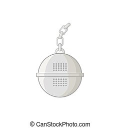Steel strainer icon, black monochrome style - icon in black...