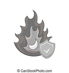 Fire insurance icon, black monochrome style - icon in black...