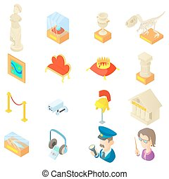 Museum icons set in cartoon style. Antique and culture...