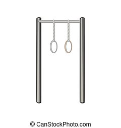 Horizontal bar with climbing rings icon