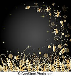 Beautiful autumn background. Gold grass, circles and flying...