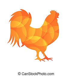 Vector Illustration of Red Fire Rooster, Symbol of 2017 Year...
