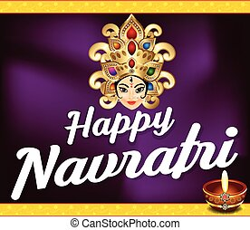 happy navratri background with deepak vector illustration
